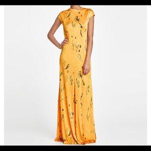Zara collection long yellow print dress NWT